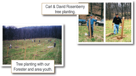 Carl & David Rosenberry planting trees with Forester and area youth.